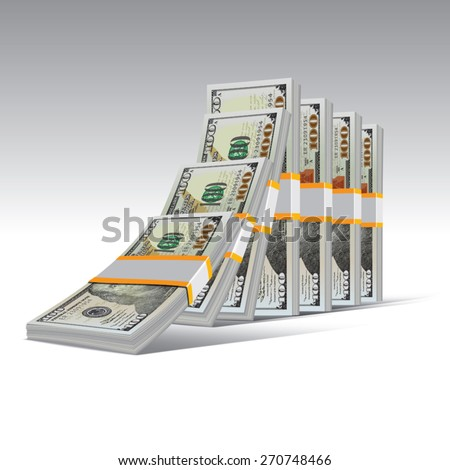 Domino effect with stacks of hundred dollar bills. Vector illustration. - stock vector