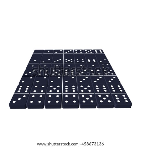 Domino set.Isolated on white background. 3d Vector illustration. - stock vector