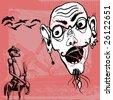don quixote de la mancha, horror head and romantic story vector - stock photo