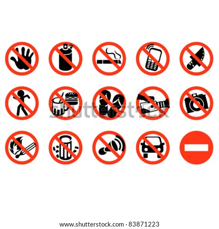 don't sign vector icon collection set - stock vector