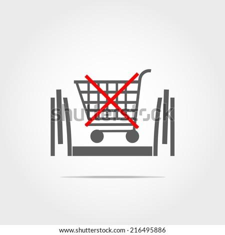 don't used wheelbarrow in escalator icon - stock vector