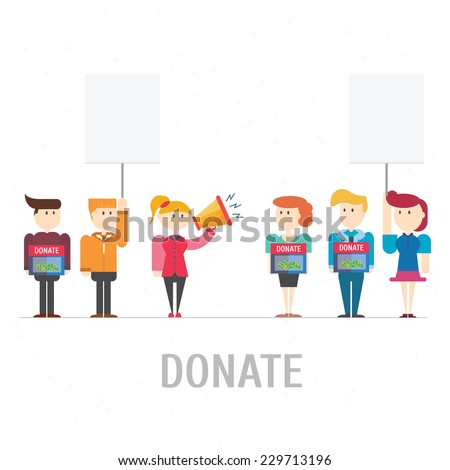 Donate at donation box,vector,illustration. - stock vector