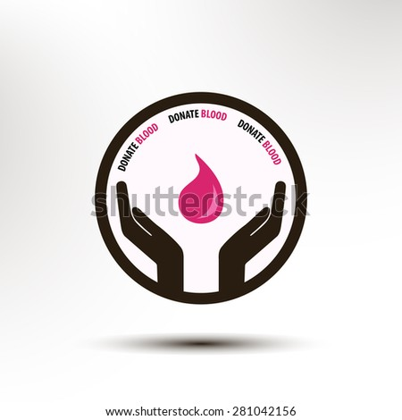 Donate blood concept logo hands and red blood drop on abstract background art - stock vector