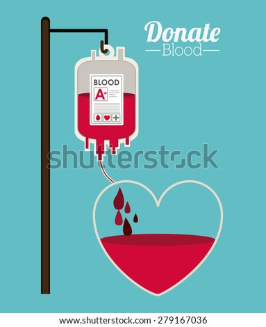Donate Blood design over blue background, vector illustration - stock vector