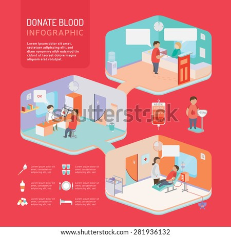 Donate blood Flat 3d isometric infographic - stock vector