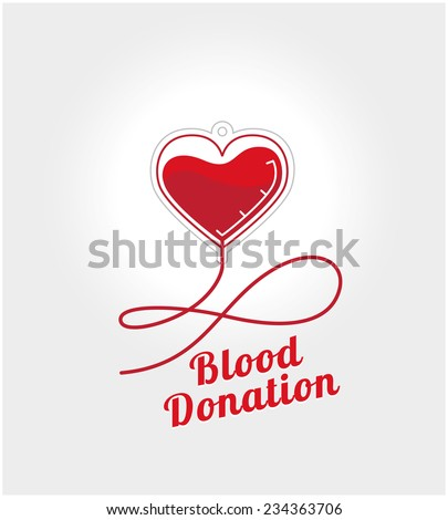 Donate blood logo concept. Element dropper in the shape of heart with blood on a white background and space for text - stock vector