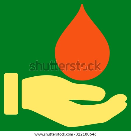 Donate Blood vector icon. Style is bicolor flat symbol, orange and yellow colors, rounded angles, green background. - stock vector
