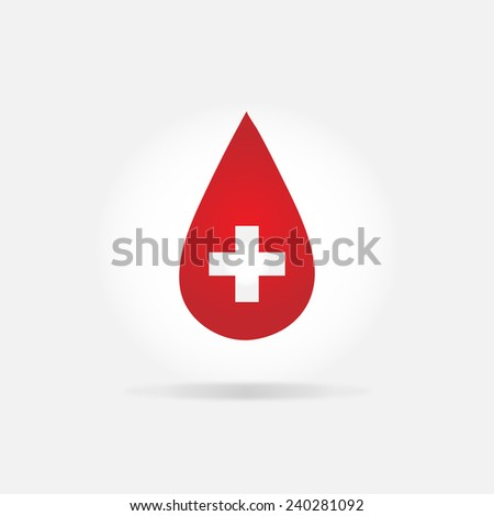 Donate drop blood red sign - stock vector