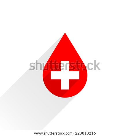 Donate drop blood red sign with cross with gray long shadow on white background in simple flat style. Graphic design elements vector illustration save in 8 eps - stock vector