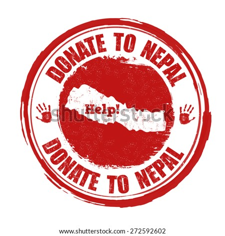 Donate to Nepal grunge rubber stamp on white background, vector illustration - stock vector