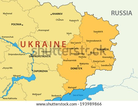Donetsk and Lugansk regions of Ukraine - vector map - stock vector