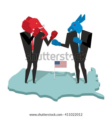 Donkey and elephant fight. Democrat and Republican opposition. Businessmen combat in business suit and boxing gloves. Battle of red and blue donkey elephant. Allegory of political parties in America - stock vector