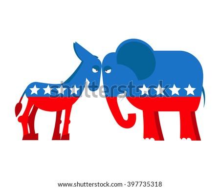 Donkey Elephant Symbols Political Parties America Stock Vector