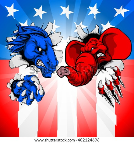 Donkey and elephant tearing through the background. American politics election concept with animal mascots of the democrat and republican political parties - stock vector