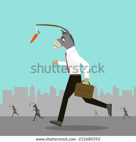 Donkey and his carrot - stock vector