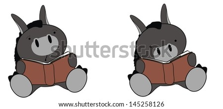 donkey baby cartoon sit reading in vector format very easy to edit - stock vector