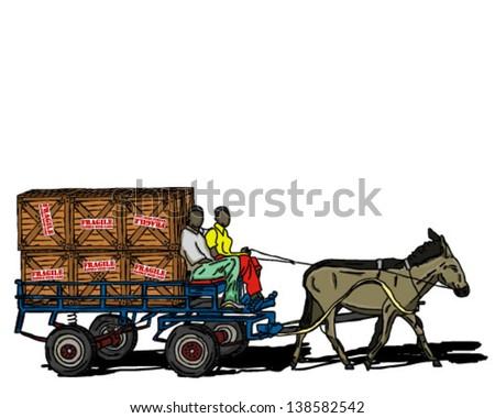 DONKEY CART CARRYING CRATEs - stock vector