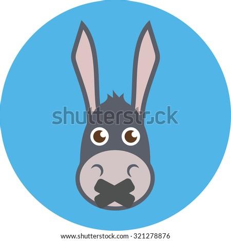 Donkey Head With Mouth Sealed. Donkey icon image, Donkey logo, Donkey web icon, Donkey icon vector, Donkey icon sign, Donkey flat icon, Donkey icon art, Donkey icon eps, Donkey icon picture - stock vector