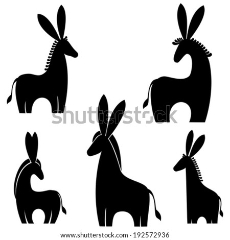 donkey isolated on white background. Vector illustration  - stock vector