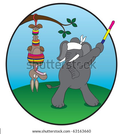 Donkey pinata. Democrat donkey being used as pinata by Republican elephant. - stock vector