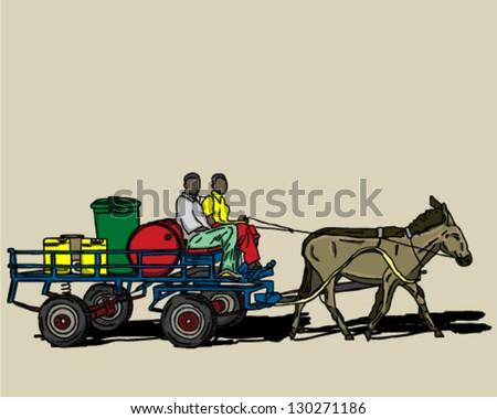 donkey pony drawn cart - stock vector