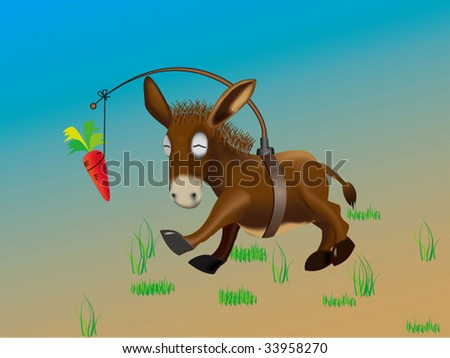 Donkey pursuing  the  carrot - stock vector