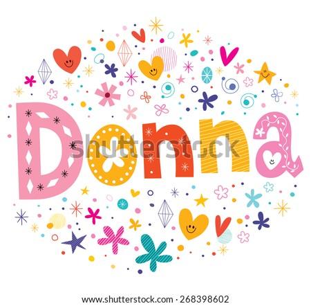 donna girls name decorative lettering type design