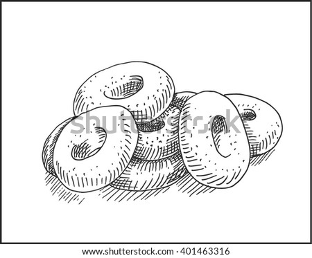 Donut cakes food hand drawn sketch.  Vector pastry illustration.