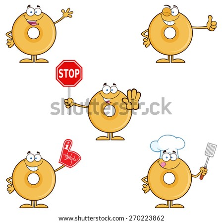 Donut Cartoon Character 2. Vector Collection Set Isolated On White - stock vector