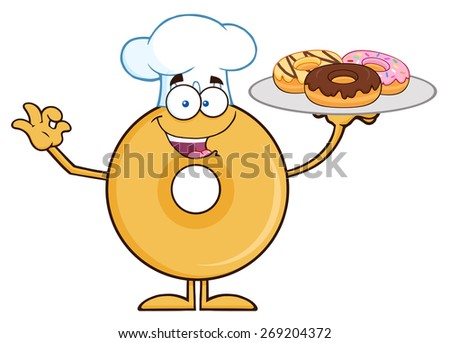 Donut Cartoon Character Wearing A Chef Hat And Serving Donuts. Vector Illustration Isolated On White - stock vector