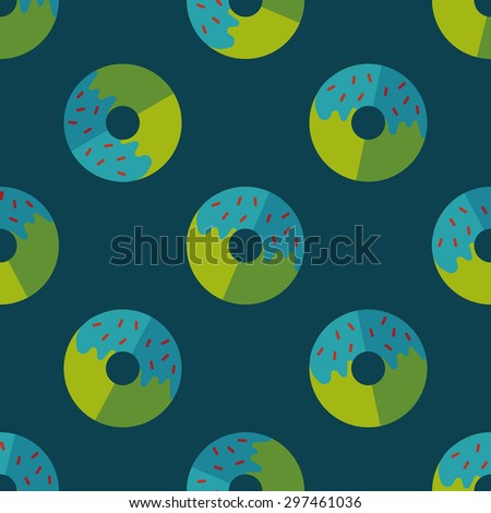 Donut flat icon,eps10 seamless pattern background - stock vector
