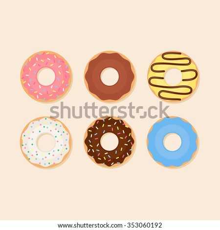 Donut vector illustration. Donut isolated on a light background. Donut icon in a flat style. Donuts into the glaze set. Collection of sweet donuts isolated. Donuts icing sugar. - stock vector