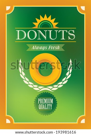 Donuts poster design in color. Vector illustration. - stock vector
