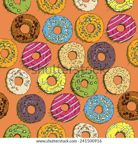 Donuts seamless pattern in doodle design. Cartoon style. Vintage. Vector illustration. - stock vector