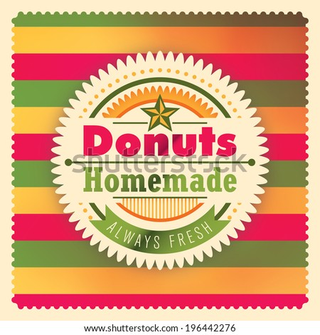 Donuts sticker design in color. Vector illustration. - stock vector