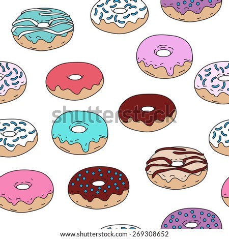 Donuts vector seamless pattern on background - stock vector
