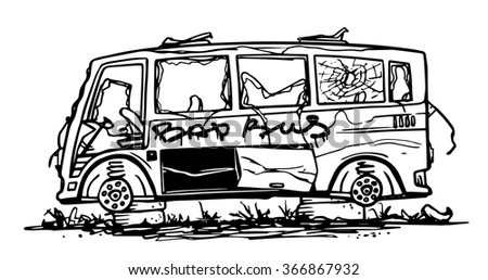 Doodle abandoned bus.  Black and white vector illustration. - stock vector