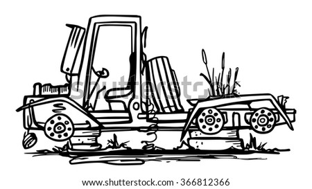 Doodle abandoned truck.  Black and white vector illustration. - stock vector