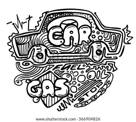 Doodle abstract car. Hand drawn vector illustration