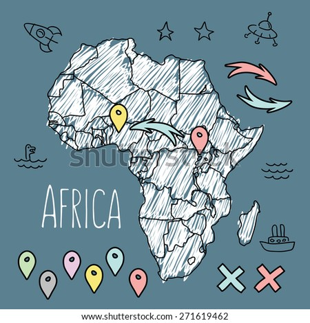 Doodle Africa map on navy chalkboard with pins and extras vector illustration - stock vector
