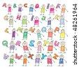Doodle alphabet - stock vector
