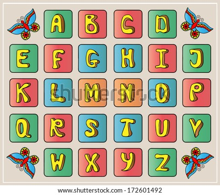 Doodle alphabet, hand drawn font, childish stile, cartoon letters with butterfly, ABC vector illustration, beige background - stock vector