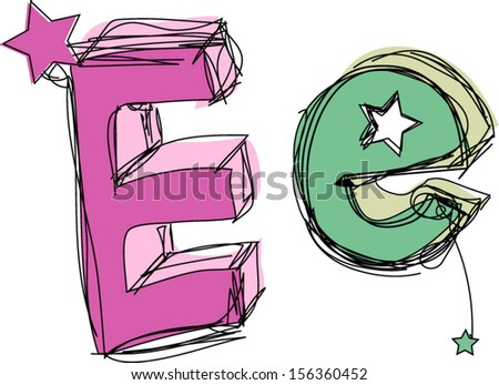 Doodle, Alphabet, hand drawn letter E, capital letter, upper and small letter e - stock vector