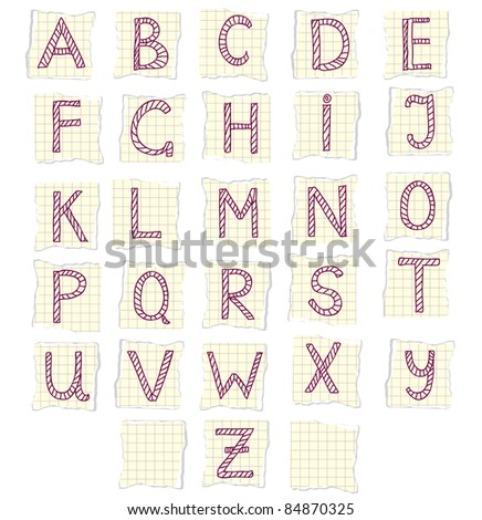 Doodle alphabet on the pieces of paper - stock vector