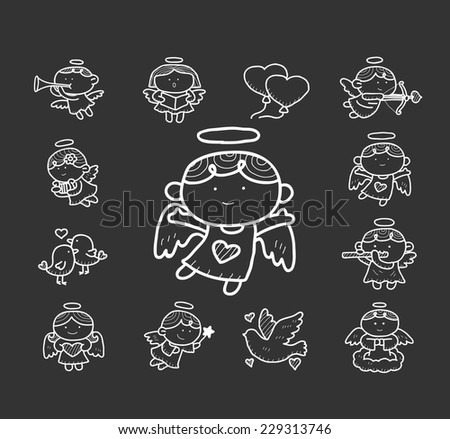 Doodle angel icon set - stock vector