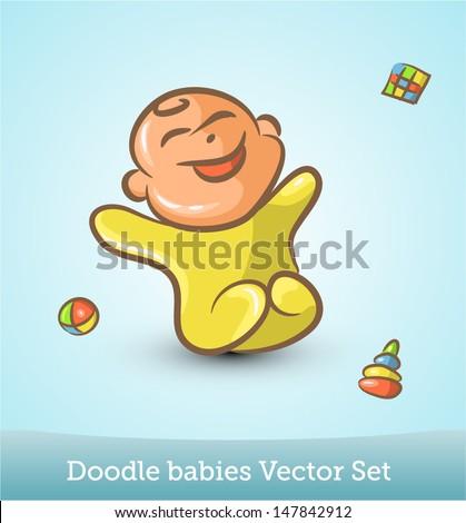 doodle baby - stock vector