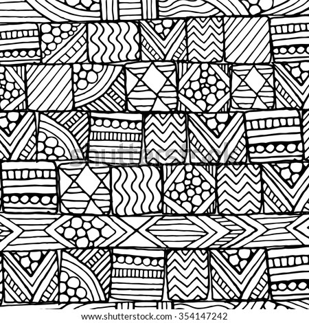 Doodle background pattern. Made by trace from sketch. Black and white background.  - stock vector
