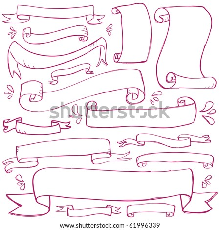 Doodle Banners - stock vector