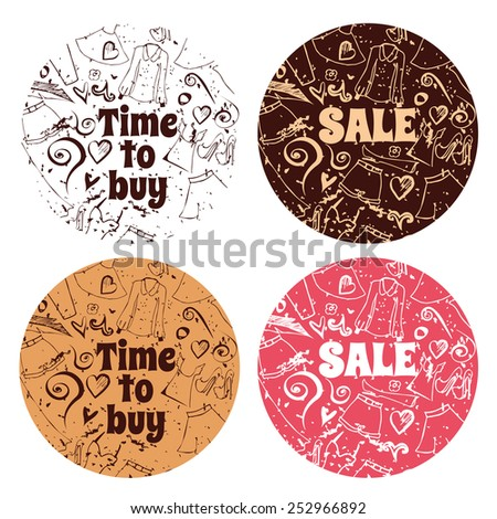 Doodle banners for sale in e-shop or normal store. You can make design for any promo actions - stock vector