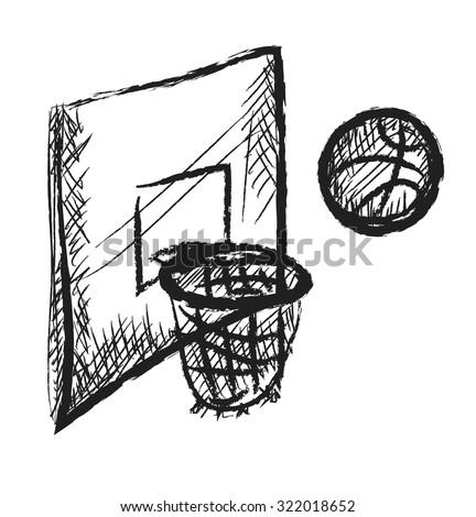 doodle basketball icon vector - stock vector